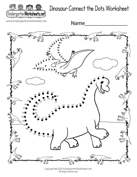 dinosaur connect  dots worksheet  printable