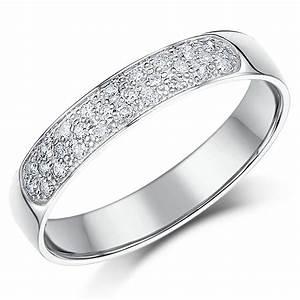 4mm 9 Carat White Gold 28point Diamond Wedding Ring Band