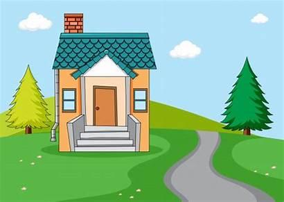 Simple Huis Nature Casa Cartoon Sencilla Roof