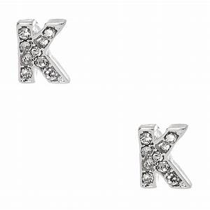 silver tone clear crystal initial letter k stud earrings With silver letter stud earrings