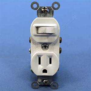 Leviton Combination White Wall Toggle Light Switch Outlet