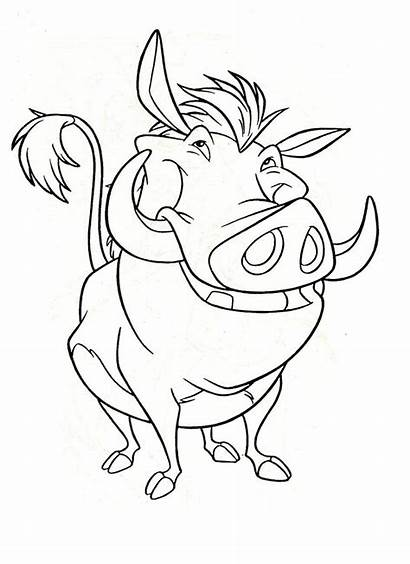 Lion King Coloring Disney Pages Character Pumba