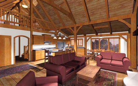 open concept cabin floor plans an open concept timber frame design for a family cabin