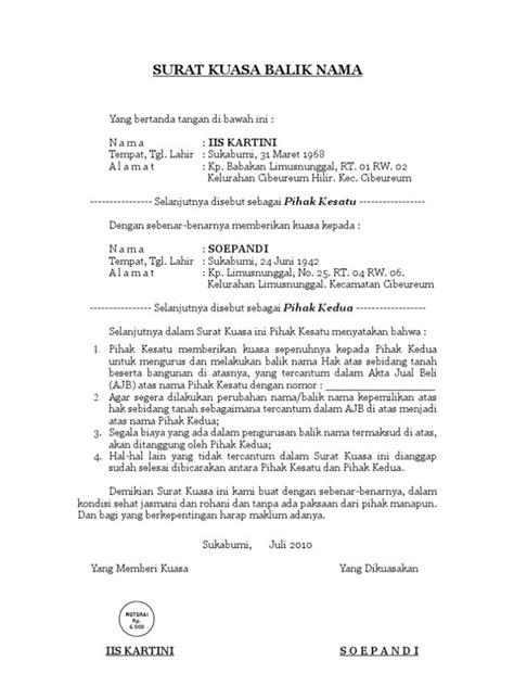 Contoh surat kuasa bayar pajak kendaraan bermotor. Contoh Surat Kuasa Untuk Balik Nama Kendaraan Bermotor