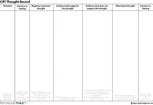 Therapy Worksheets Cbt Thought Record Worksheet Psychology Tools