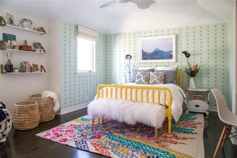 colorful eclectic girls room  green wallpaper hgtv