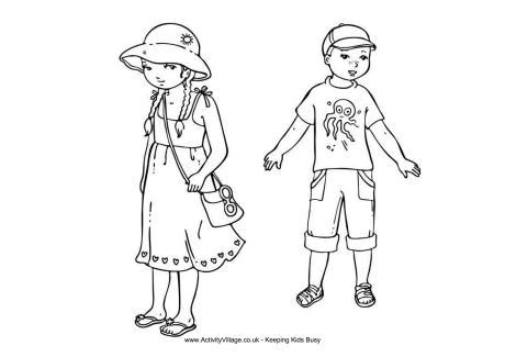 Summer Clothes Coloring Pages for Kids