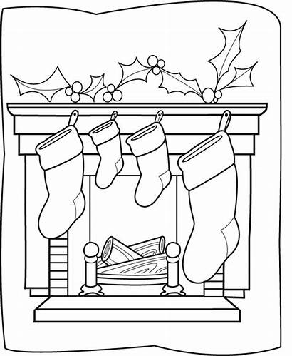 Coloring Pages Christmas Printable Chimneys Stockings Chimney