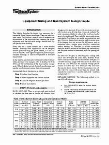 Equipment Sizing And Duct System Design Guide