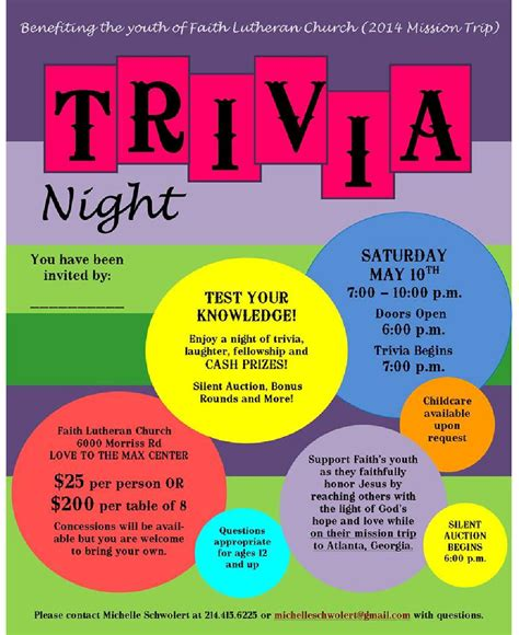 trivia night flyer templates pin trivia night flyer on pinterest