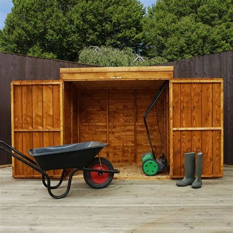 mower storage shed 4 8 quot x 3 overlap pent mower shed 10mm solid osb floor