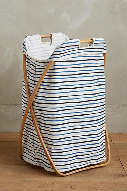 grey white stripe laundry hamper  utility crate  barrel