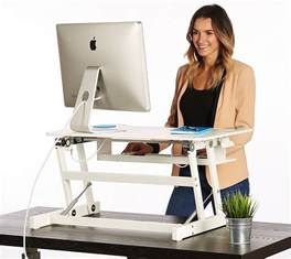 Dual Monitor Adjustable Standing Desk by White Standing Desk The Deskriser Height Adjustable