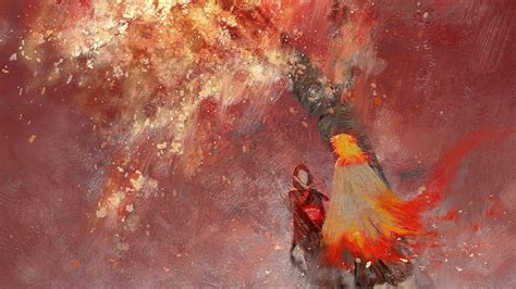 Demon Slayer Kyojuro Rengoku With Red Background Hd Anime