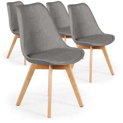 menzzo chaise lot de 4 chaises scandinaves conor tissu gris
