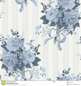 Blue Rose Vintage Wallpaper. Floral Pattern Stock Vector ...