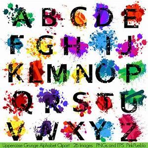 Grunge alphabet font with graffiti paint splatters for Painting alphabet letters
