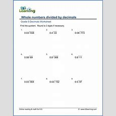 Grade 5 Math Worksheets Divide Whole Numbers By Decimals  K5 Learning