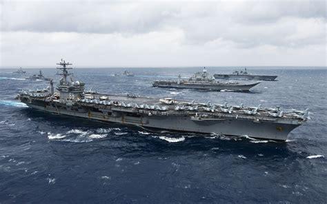 Portaerei Nimitz by Uss Nimitz Cvn 68 American Aircraft Carrier Along With