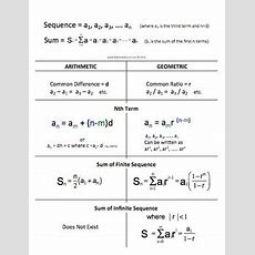 Arithmetic And Geometric Sequence, Sum, Nth Term, Cheat Sheet Foldable