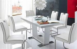 Table Blanc Laqué Extensible : table a manger blanc laque extensible ~ Teatrodelosmanantiales.com Idées de Décoration