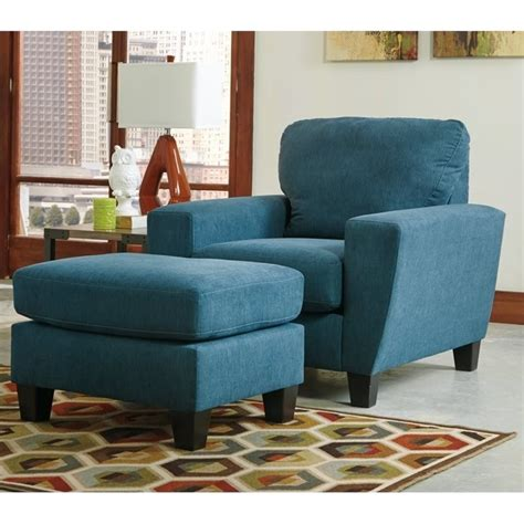 sagen fabric chair and ottoman in teal 93902 20