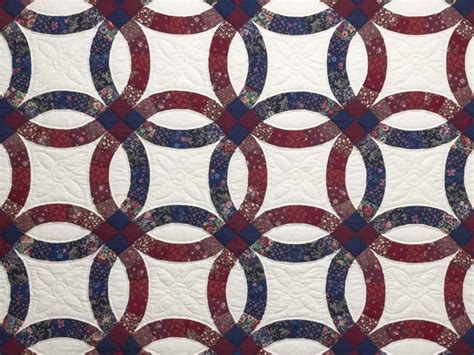 cranberry and navy blue wedding ring quilt photo 3