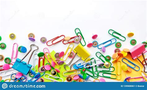 School And Office Supplies Paper Clips Pins Notes