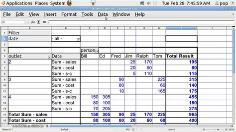 Ubuntu Basics Spreadsheet Basics Pivot Table Youtube