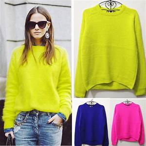 Super Fashion Acne Rabbit Fur Pullover Sweater Neon Color Jumper Women New 2013 Autumn Winter ...
