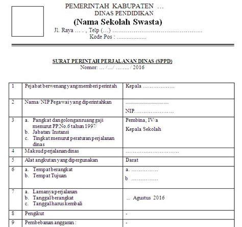 Contoh Sppd by Contoh Sppd Sekolah Swasta Terbaru Mts Al Islam Limpung