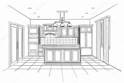 Interior Cocina Kitchen Moderna Island Sketch Isla