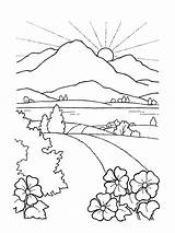 Sunset Mountain Coloring Printable sketch template