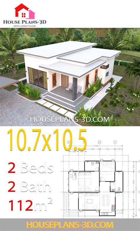 house plans    bedrooms flat roof house plans