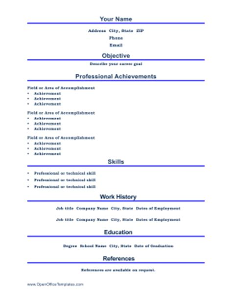 Free Resume Templates Open Office by Professional Resume Openoffice Template