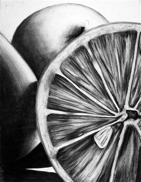 life  objects charcoal student drawing food