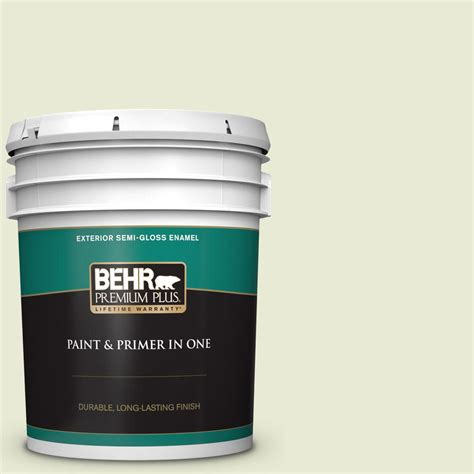 behr premium plus 5 gal 410e 2 celery gloss enamel exterior paint and primer in one
