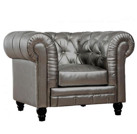 zahara silver leather chesterfield club chair