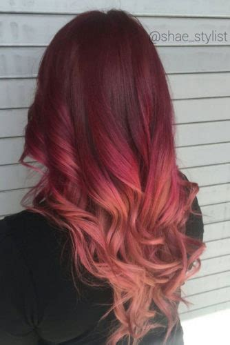 red ombre hair color ideas  long hair