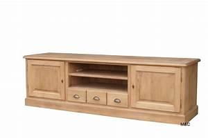 Meuble Salon Bois : grand meuble tv bois massif ~ Teatrodelosmanantiales.com Idées de Décoration