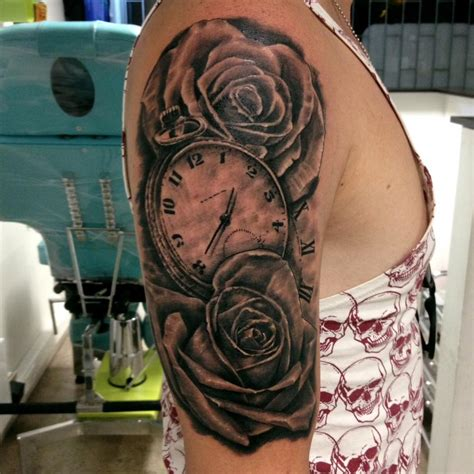 grey rose flowers tattoo    sleeve