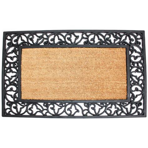 Plain Coir Doormat by 24 In X 40 In Coir And Rubber Scroll Plain Door Mat