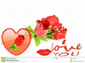 Heart Roses Lips And I Love You Words Icon Stock Images ...