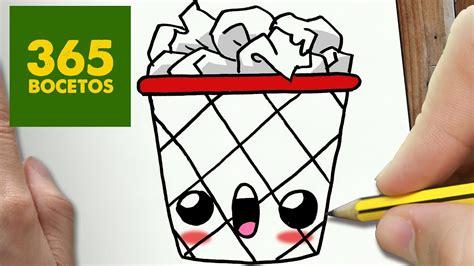 como dibujar papelera kawaii paso a paso dibujos kawaii faciles how to draw a paper bin