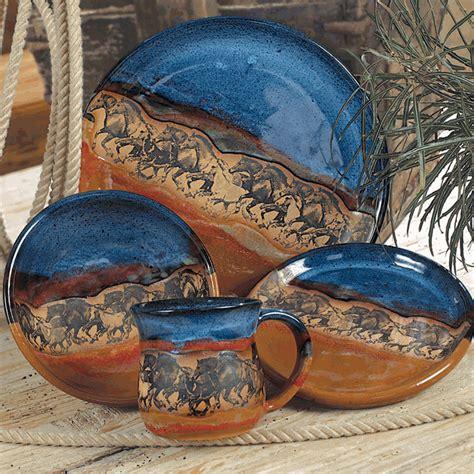 wild horses pottery dinnerware  pcs
