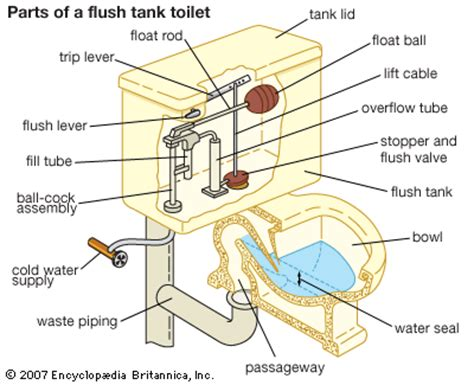 Parts Of A Water Closet by Plumbing Flush Tank Toilet Students Britannica
