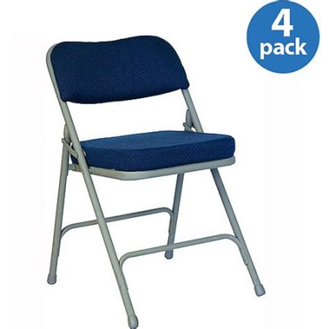 fabric upholstered premium folding chair navy set of