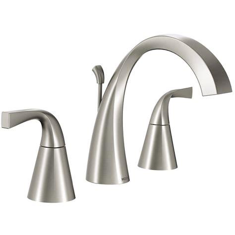 bathroom sink and shower fixtures shop moen oxby spot resist brushed nickel 2 handle