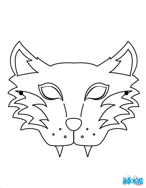 Coloring Mask by Tiger Mask Coloring Pages Hellokids