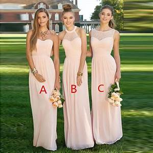 women blush light pink bridesmaid dress 2017 long formal With pastel pink wedding dress